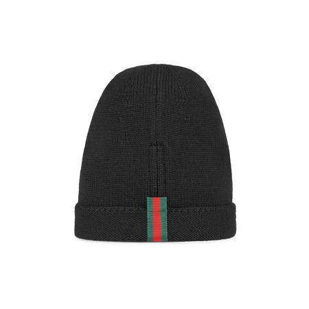 Gucci Mütze aus Wolle mit Webstreifen schwarz