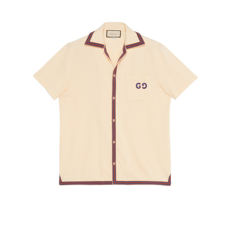 Gucci Polo with GG embroidery beige