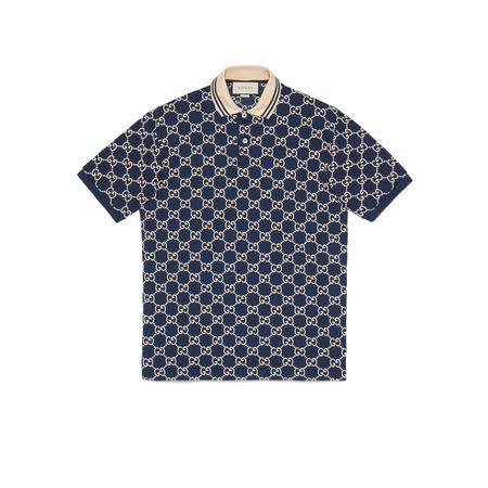 Gucci Poloshirt aus Stretch-Baumwolle mit GGMotiv grau