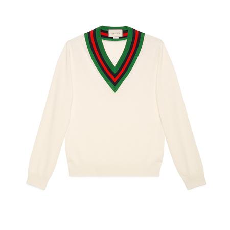 Gucci Pullover aus Wollstrick mit V-Ausschnitt beige