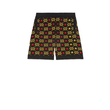 Gucci Shorts aus Jacquard mit GG Motiv und Sternen schwarz