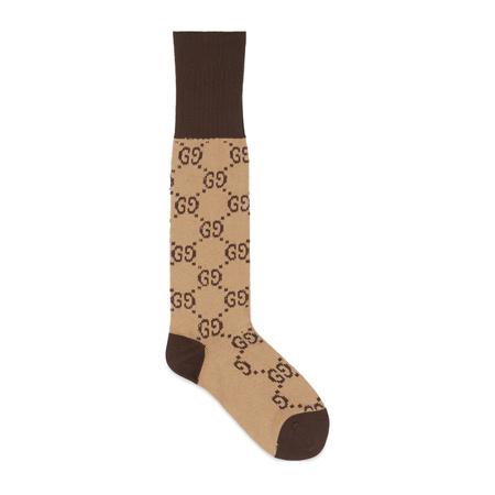 Gucci Socken aus Baumwollmischung mit GG Muster braun