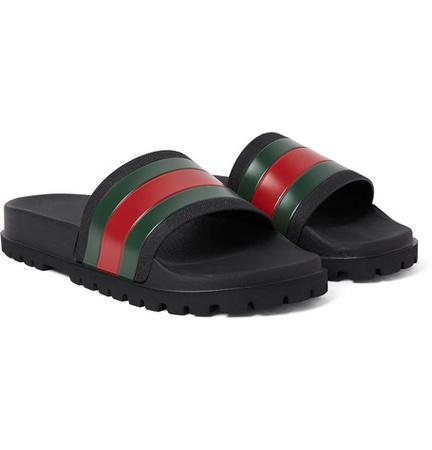 Gucci Striped Rubber Slides - Schwarz schwarz