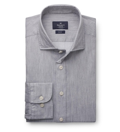 Hackett London Casual Hemd schmaler Kragen grau