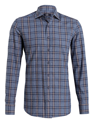 Hackett London  Flanellhemd Slim-Fit grau