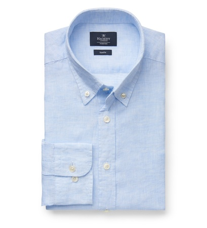 Hackett London Leinenhemd 'Brompton' Button-Down-Kragen hellblau