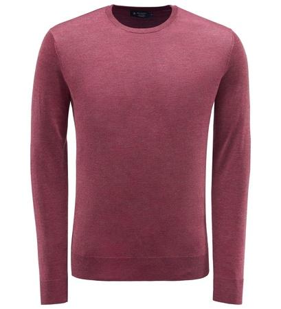Hackett London Merino R-Neck Pullover dunkelrot braun