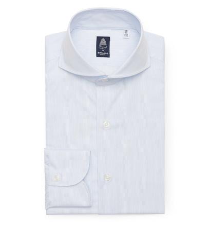 Finamore Business Hemd 'Sergio Napoli' Haifisch-Kragen weiß/hellblau gestreift grau