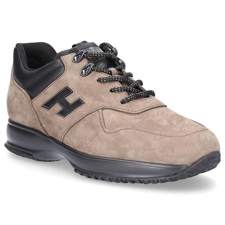 Hogan  Sneaker Glattleder Nubukleder Logo Metallisch beige braun