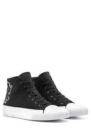Hugo Boss Hightop Sneakers aus Canvas mit Bärenmotiv schwarz