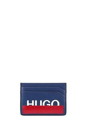 Hugo Boss Kartenetui aus Leder mit teilweise verdecktem Logo blau