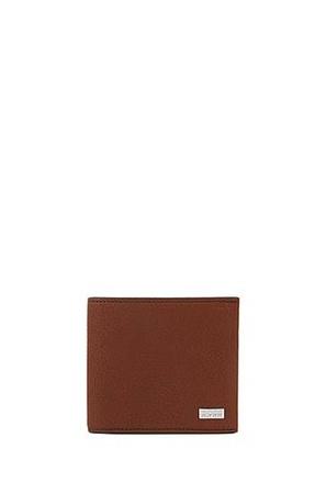 Hugo Boss Klapp-Geldbörse aus genarbtem Leder mit acht Kartenfächern braun