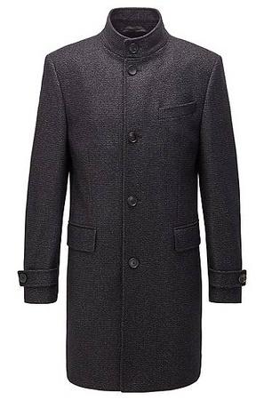 Hugo Boss Melierter Regular-Fit Mantel aus Woll-Mix grau
