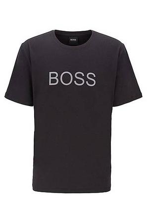 Hugo Boss Pyjama-Shirt aus elastischem Baumwoll-Jersey mit Logo-Print