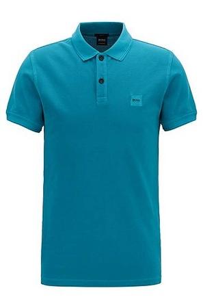 Hugo Boss Slim-Fit Poloshirt aus gewaschenem Baumwoll-Piqué blau