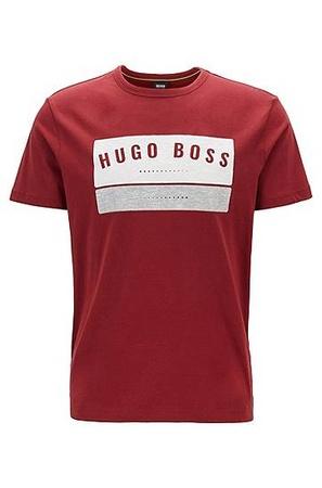 Hugo Boss T-Shirt aus Baumwolle mit markantem Logo-Artwork pink