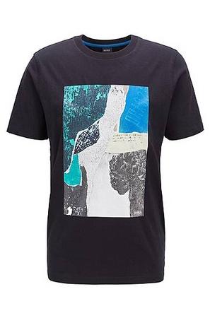 Hugo Boss T-Shirt mit Siebdruck-Artwork schwarz