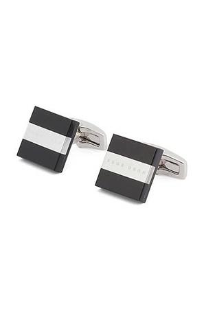 Hugo Boss Viereckige Manschettenknöpfe aus Fiberglas mit metallenem Logo-Streifen grau