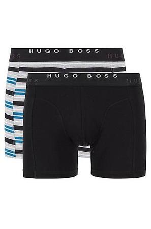 Hugo Boss Zweier-Pack Boxershorts mit Logo am Bund schwarz