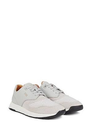 Hugo Boss Zweifarbige Sneakers aus gestricktem Gewebe und genarbtem Leder grau