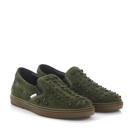 Jimmy Choo  Slip-On Sneaker Grove Veloursleder grün Stars grau