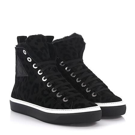 Jimmy Choo  Sneaker High Boris Leopard-Look Lammfell schwarz schwarz