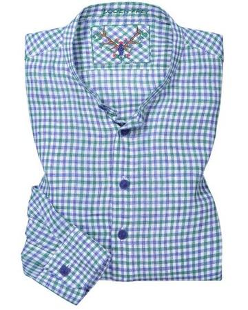 Lodenfrey Trachten-Leinenhemd (Größe: 38;39;40;41;42;43;44;45;46) blau