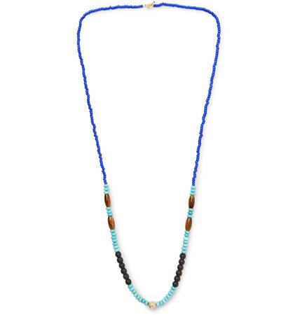 Luis Morais Bead, Gold-tone And Multi-stone Necklace - Multi blau
