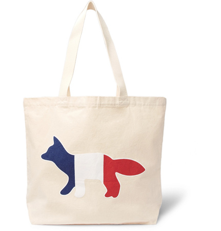 Maison Kitsuné Printed Cotton-canvas Tote Bag - Cream braun