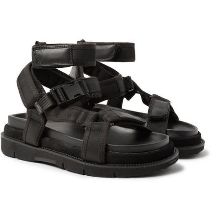 Maison Martin Margiela Leather And Suede-trimmed Nylon Sandals - Black schwarz