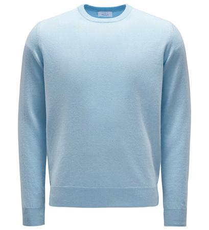 Malo Cashmere R-Neck Pullover pastellblau grau