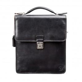 Maxwell Scott Bags Herren Leder Handtasche in Schwarz - Schultertasche, Umhängetasche, Shopper, Henkeltasche schwarz