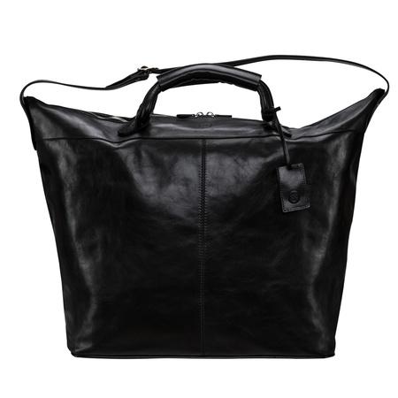Maxwell Scott Bags Italienische Leder Reisetasche in Schwarz - Weekender, Handgepäck, Sporttasche schwarz