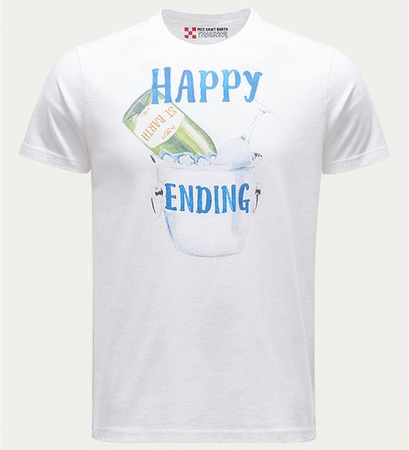 MC2 Saint Barth R-Neck T-Shirt 'Happy Ending' weiß grau