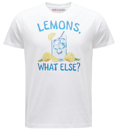 MC2 Saint Barth R-Neck T-Shirt 'Lemons' weiß grau