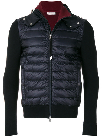 Moncler  padded front hooded jacket - Blau