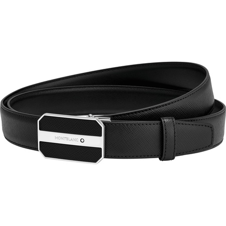 Montblanc  - Individuell anpassbarer Business-Gürtel in Schwarz - Ledergürtel schwarz