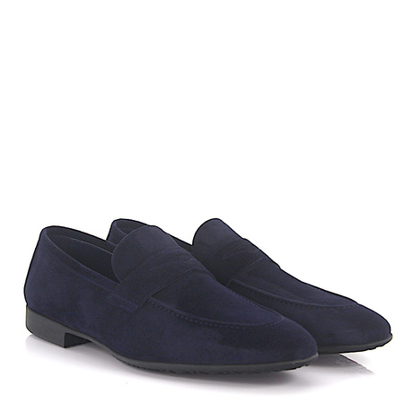 Moreschi  Penny Loafer 042173 Veloursleder blau rahmengenäht grau