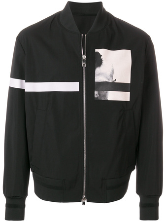 Neil Barrett  graphic print bomber jacket - Schwarz