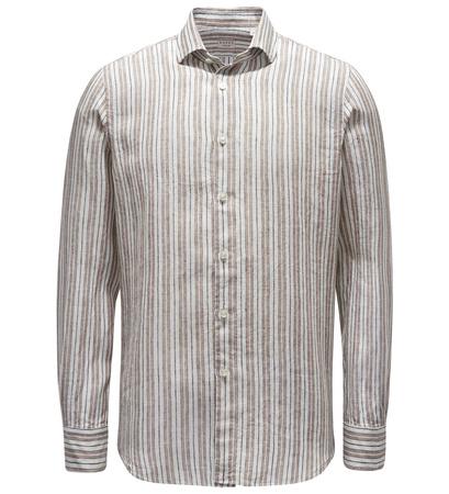 Xacus Leinenhemd 'Tailor Fit' schmaler Kragen braun/offwhite gestreift braun