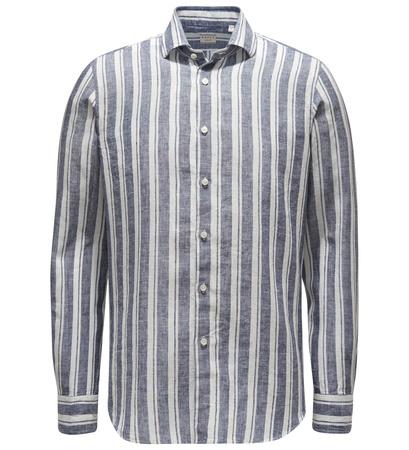 Xacus Leinenhemd 'Tailor Fit' schmaler Kragen navy/offwhite gestreift grau