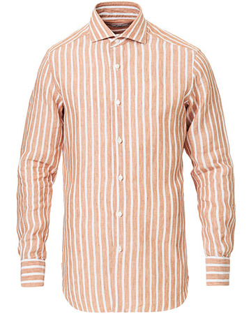 Barba Napoli Freizeithemden von . Grösse: 39 - M. Farbe: Orange.  Culto Slim Fit Striped Linen Shirt White/Orange