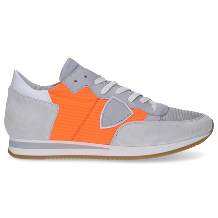 Philippe Model  Sneaker low TROPEZ  Kalbsleder  Textil Logo Patch grau orange grau