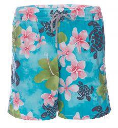 Vilebrequin Badeshort Hawaii Print TÜRKIS/PINK  blau