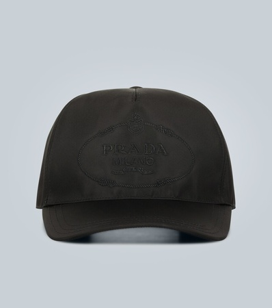 Prada Bestickte Basecap mit Logo grau