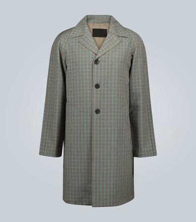 Prada Karierter Trenchcoat aus Wolle grau