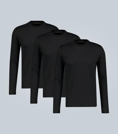 Prada Langarm-T-Shirt im Dreierpack grau