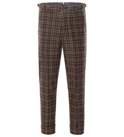 PT01 Pantaloni Torino Wollhose 'Preppy Fit' dunkelbraun kariert grau