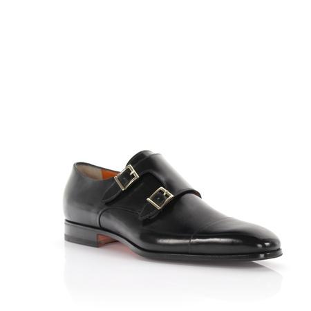 Santoni  Doppel-Monk 07508 Leder schwarz grau