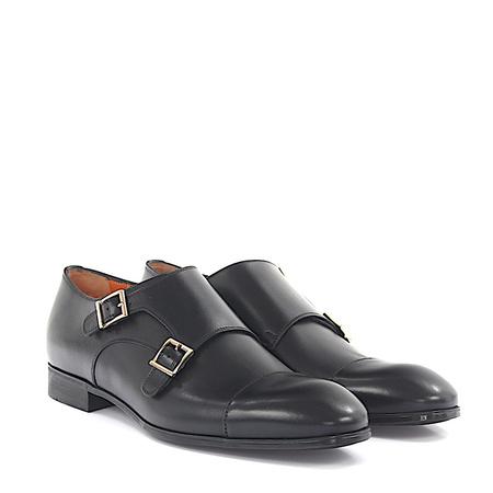 Santoni  Doppel-Monk 14549 Leder schwarz grau